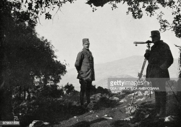 Constantine I of Greece overseeing the last operations for the conquest of Ioannina, Greece, First Balkan War, from L'Illustrazione Italiana, Year...