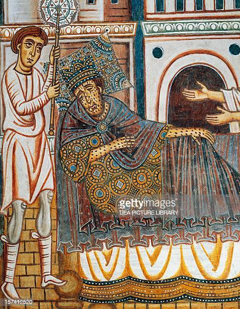 Constantine in bed stricken with leprosy detail from the Legend of Constantine and St Sylvester lunette from the Chapel of St Sylvester Church of the...