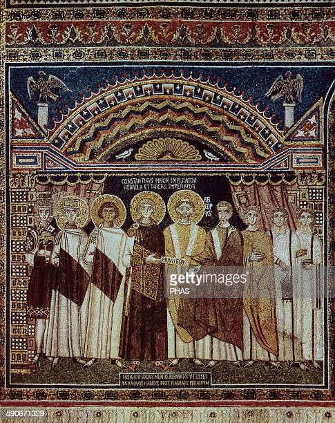 Constantine IV Byzantine Emperor from and his retinue granting privilege to the Ravennate church Mosaic Basilica of Sant'Apollinare in Classe Ravenna...