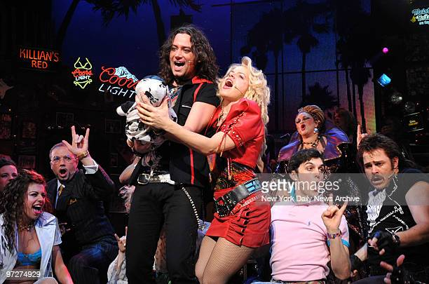 Constantine Maroulis and Amy Spanger at the opening night of the B'Way Play 'Rock Of Ages' held in the Brooks Atkinson Theatre