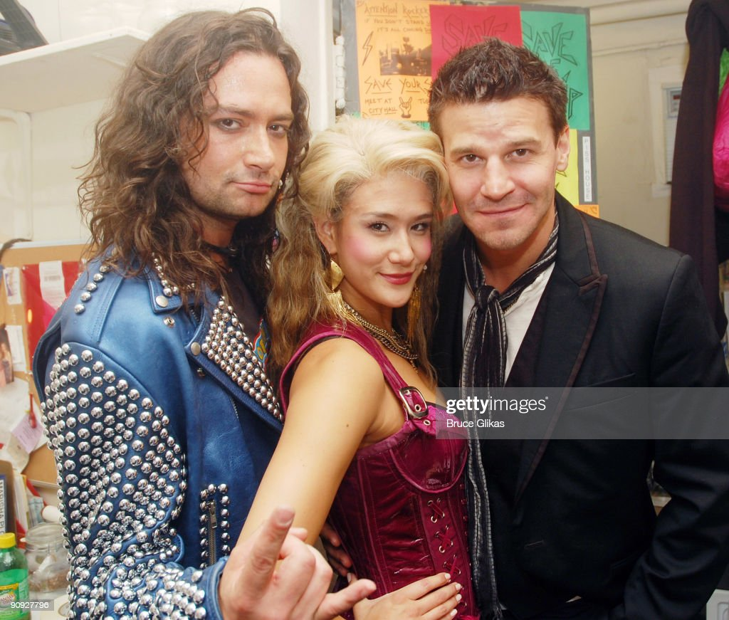 Constantine Maroulis, Ericka Hunter and David Boreanaz pose backstage at the hit rock musical 'Rock of Ages' on Broadway at The Brooks Atkinson Theater on September 17, 2009 in New York, New York.