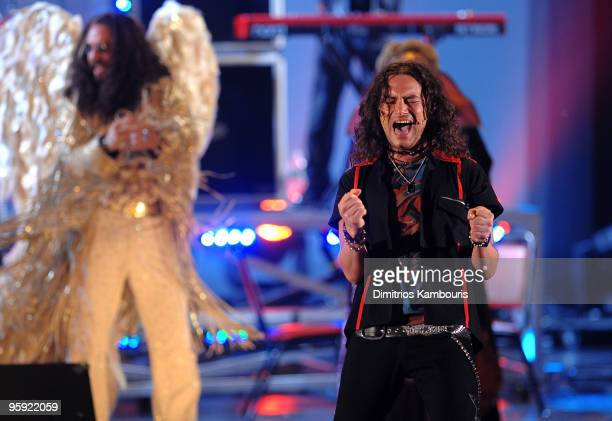 Constantine Maroulis performs a song with the cast of 'Rock of Ages' on stage during the 63rd Annual Tony Awards at Radio City Music Hall on June 7...