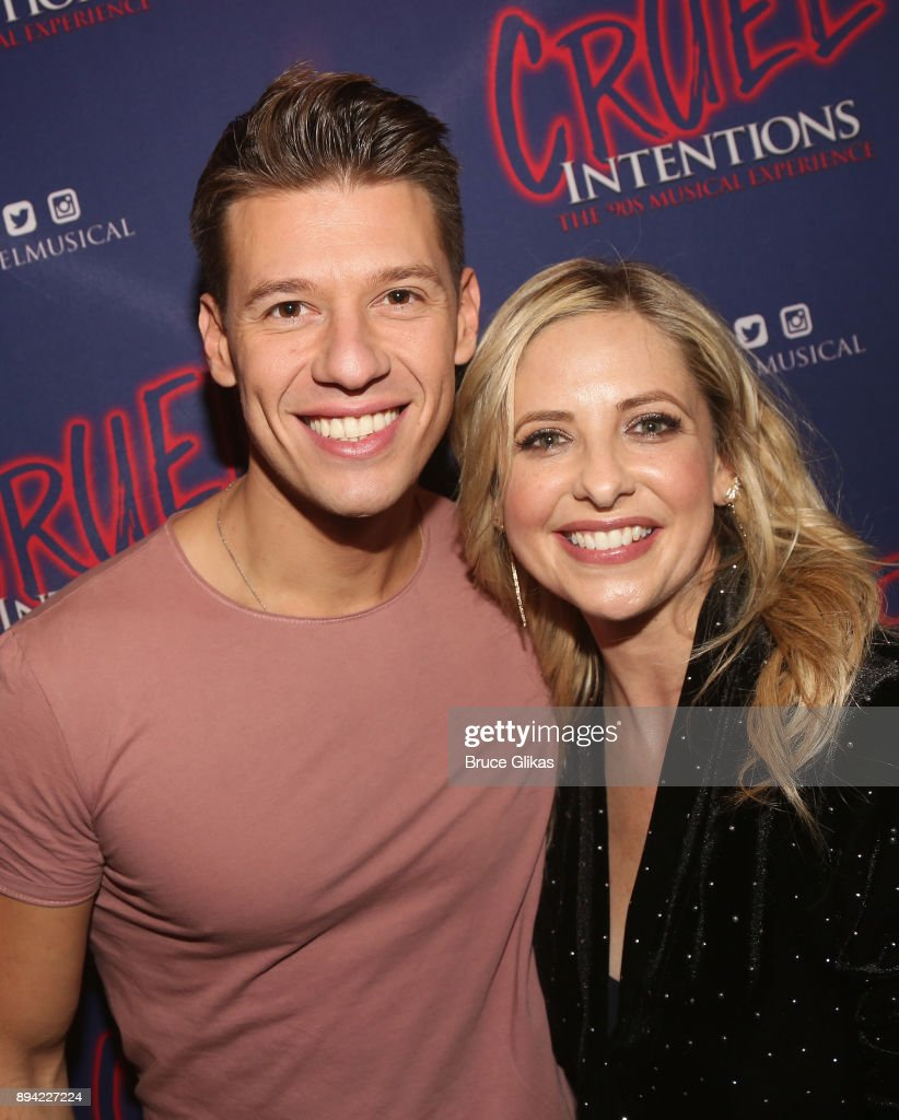 Constantine Rousouli and Sarah Michelle Gellar pose backstage at the new musical based on the 1999 film 'Cruel Intentions' at Le Poisson Rouge Theatre on December 16, 2017 in New York City.