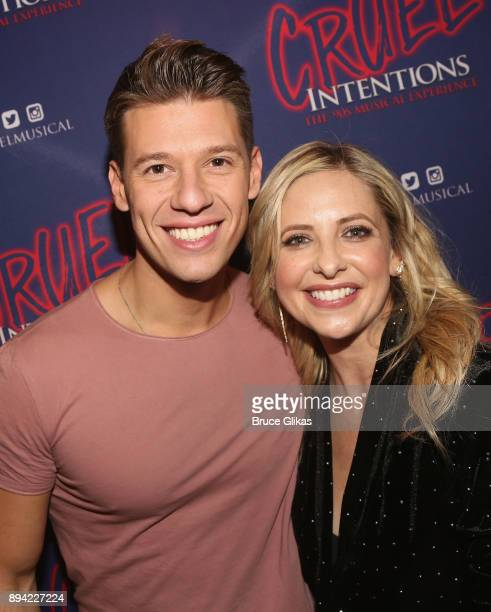 Constantine Rousouli and Sarah Michelle Gellar pose backstage at the new musical based on the 1999 film 'Cruel Intentions' at Le Poisson Rouge...