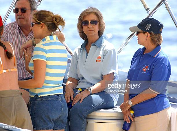 Constantino of Greece his daugther Queen Sofia of Spain and Ana Maria of Greece sit on board the 'Llamp' on the fourth day of the 21st Shaling Trophy...