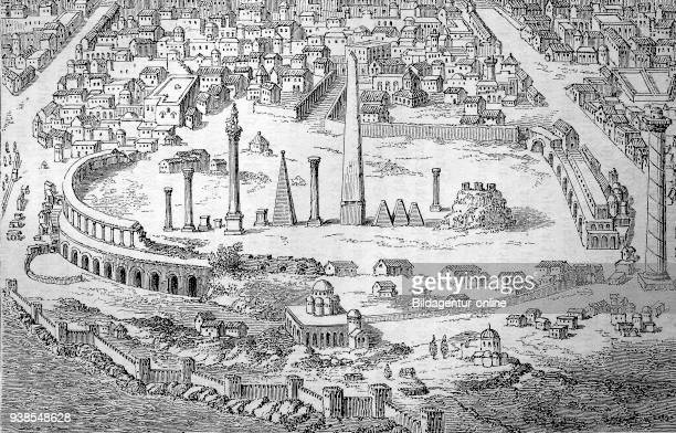 Constantinople Constantinopolis was the capital city of the Roman/Byzantine Empire here the hippodrome an ancient Grecian stadium for horse racing...