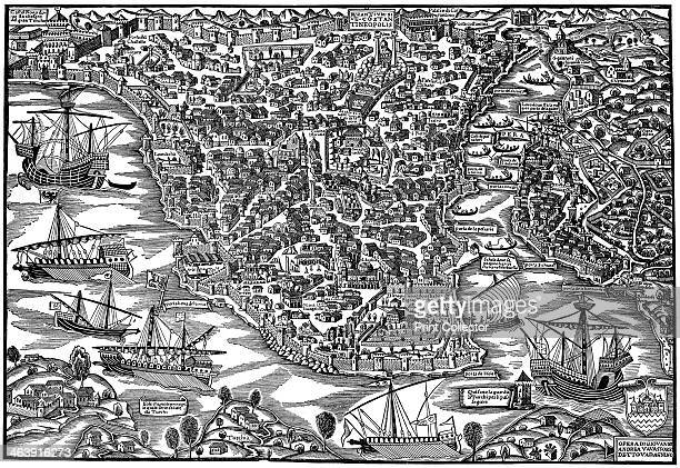 Constantinople mid 16th century Caravels and galleys flying Turkish and Hapsburg flags Clearly visible are Constantine's palace and the new palace of...