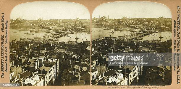 Constantinople, showing the Outer Bridge over the Golden Horn and Stamboul Turkey. The bridge is on the Bosporus, strait which separates the Asian...