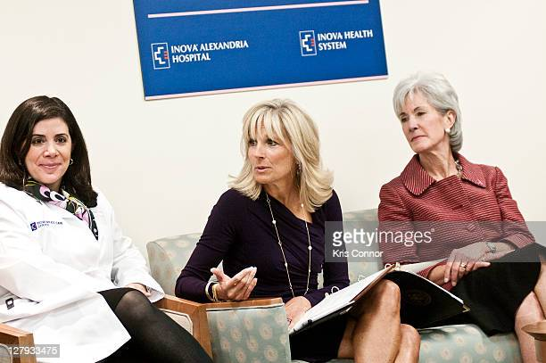Constanza Cocilovo Jill Biden and Kathleen Sebelius speak during a roundtable discussion during a visit to the Breast Care Center at the Inova...