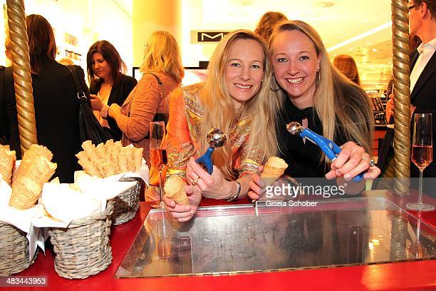 Constanze Hausmann and her sister Veronica Sass attend the 'Studio Italia La Perfezione del Gusto' grand opening at Oberpollinger on April 8 2014 in...