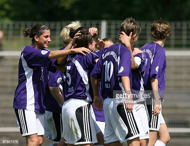 Constanze Hess of TeBe Berlin and her team mates celebrate the third goal during the Women's Second Bundesliga match between Tennis Borussia Berlin...