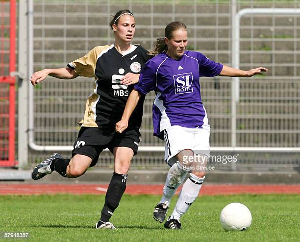 Constanze Hess of TeBe Berlin battles for the ball with AnnaMaria Ulbrich of Turbine Potsdam II during the Women's Second Bundesliga match between...