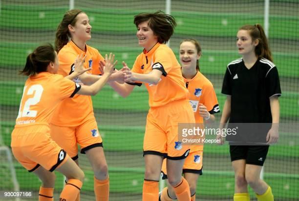 Constanze Viehmann of Hoffenheim celebrates the first goal with with her team mates during the final match between TSG 1899 Hoffenheim and DFC...