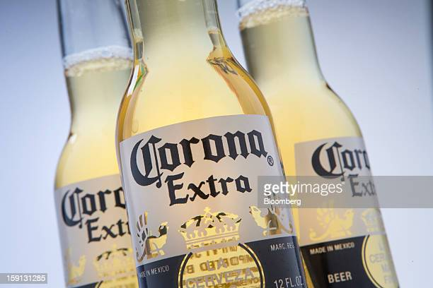 Constellation Brands Inc Corona Extra beer is arranged for a photograph in New York US on Tuesday Jan 8 2013 Constellation Brands Inc was rated new...