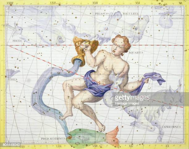 Constellation of Aquarius 1729 Plate 9 from Atlas Coelestis by John Flamsteed the first Astronomer Royal Artist Unknown