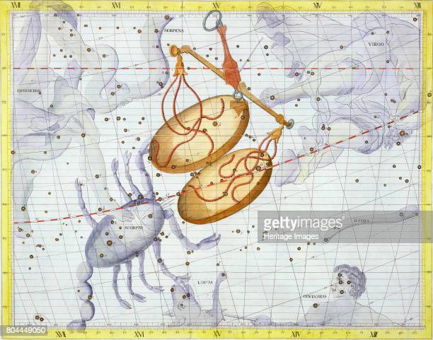 Constellation of Libra 1729 Plate 7 from Atlas Coelestis by John Flamsteed the first Astronomer Royal Artist Unknown