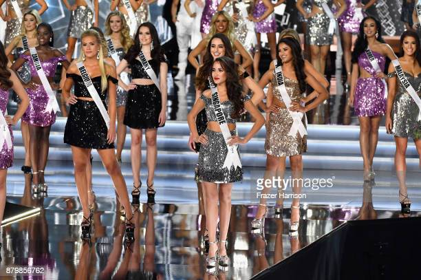 Constestants appear onstage during the 2017 Miss Universe Pageant at The Axis at Planet Hollywood Resort Casino on November 26 2017 in Las Vegas...