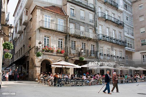 constitución square in old town vigo, galicia, spain. - vigo stock pictures, royalty-free photos & images