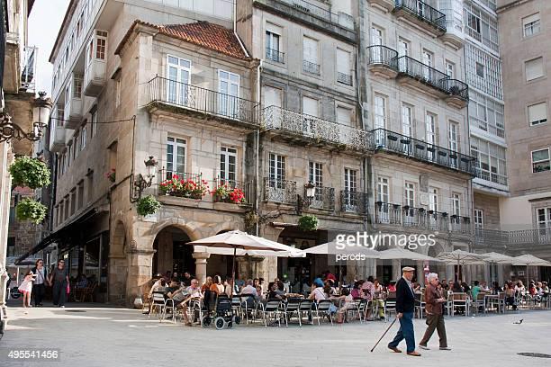 Constitución square in old town Vigo, Galicia, Spain.