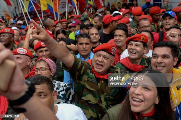 Constituent Assembly member Diosdado Cabello takes part in a rally to commemorate the 26th anniversary of late Venezuelan President Hugo Chavez's...
