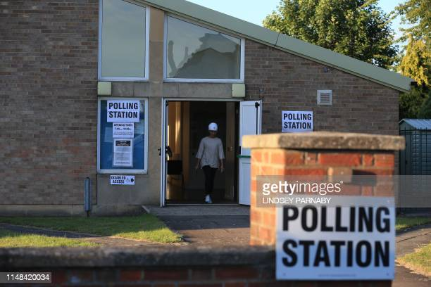 Constituents cast their votes at The Christ the Carpenter church Hall polling station in Peterborough England on June 6 2019 A local byelection was...