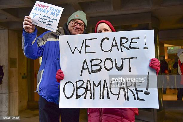 Constituents speakout and rally supporting the Affordable Care Act organized by MoveOnorg outside Senator Pat Toomey's office on December 20 2016 in...