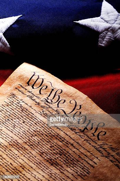 us constitution and flag - bill of rights stock photos and pictures