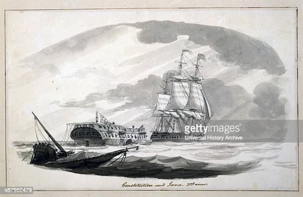 Constitution and Java 2nd view by Thomas Birch 17791851 artist Published [ca 1813] Drawing shows the British frigate HMS Java commanded by Captain...