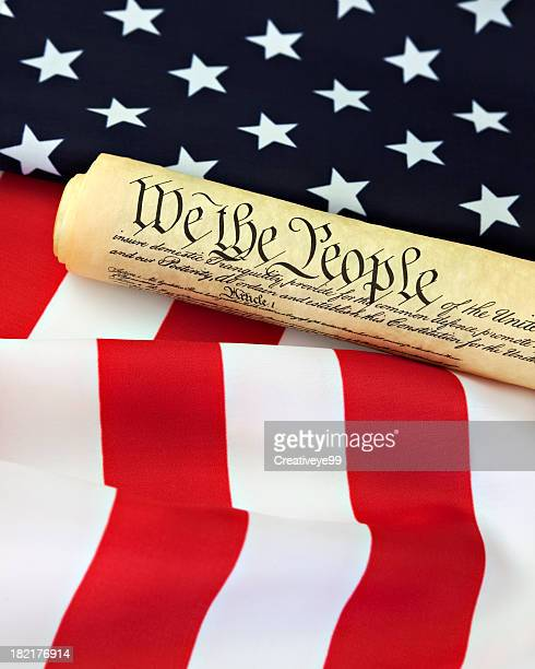 constitution and united states flag - us constitution stock pictures, royalty-free photos & images
