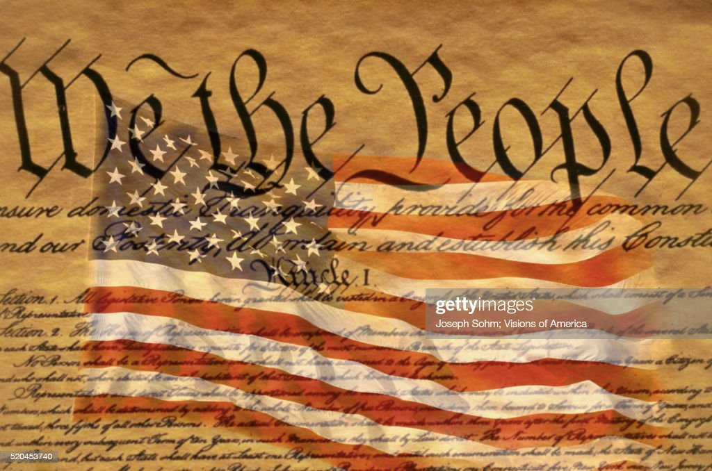 Constitution and U.S. Flag : Stock Photo