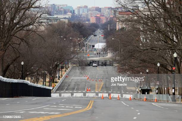 Constitution Avenue is deserted next to the U.S. Capitol building on January 17, 2021 in Washington, DC. After last week's riots at the U.S. Capitol...