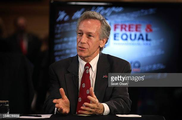 Constitution Party candidate Virgil Goode is interviewed prior to a debate hosted by the Free and Equal Elections Foundation and moderated by former...