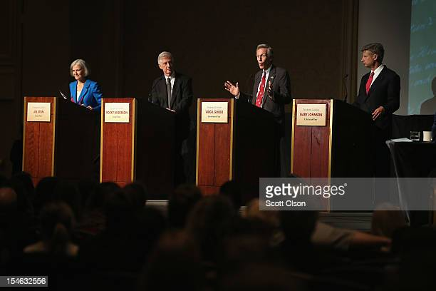 Constitution Party presidential candidate Virgil Goode makes a point as Jill Stein from the Green Party, Rocky Anderson from the Justice Party and...