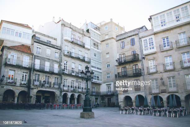 constitution plaza, old town of vigo - pontevedra province stock photos and pictures