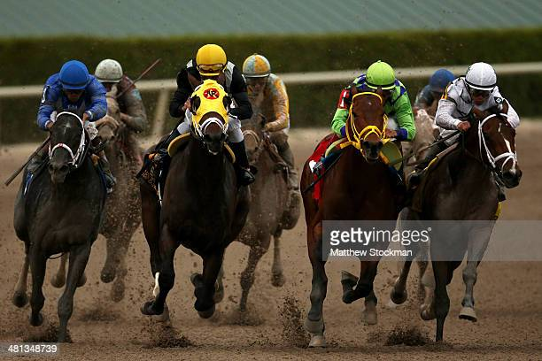 Constitution riden by Javier Castellano leads Wildcat Red riden by John Velazquez General a Rod riden by Joel Rosario and Cairo Prince riden by Luis...