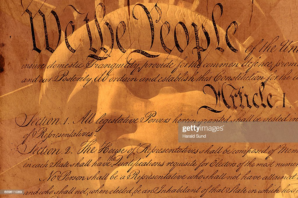 USA Constitution, Statue of Liberty face : Stock Photo
