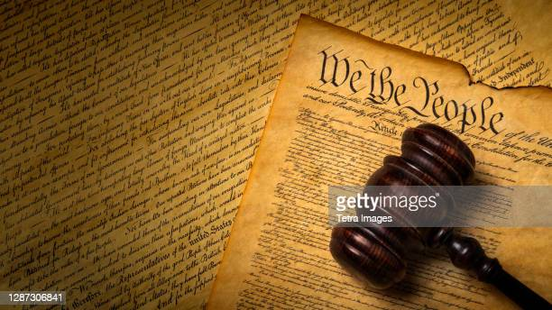 us constitution with gavel - us constitution stock pictures, royalty-free photos & images