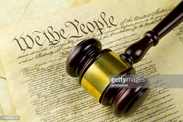 constitution with gavel - alexander hamilton stock photos and pictures