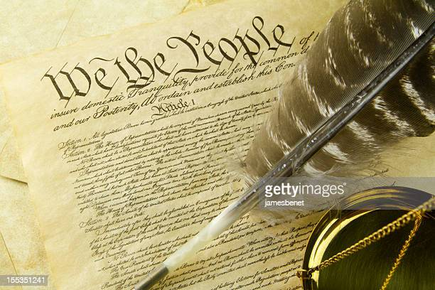 constitution with scale and quill - founding fathers stock photos and pictures