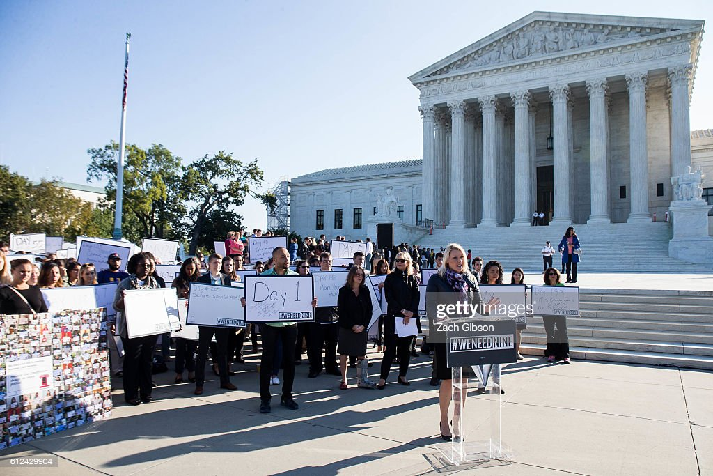 Constitutional Accountability Center President Elizabeth Wydra speaks during a demonstration urging the U.S. Senate to hold a confirmation vote for Supreme Court Nominee Merrick Garland outside of The Supreme Court of the United States on October 4, 2016 in Washington, DC. Today marks the 202nd day since President Barack Obama nominated Judge Garland to fill the vacancy left after former Justice Antonin Scalia passed away in February.