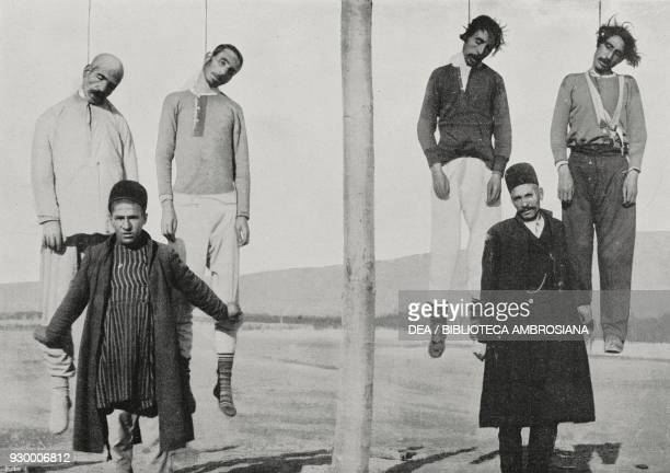 Constitutionalists hanged by Russian troops in Tabriz the dethronement of the Shah in Persia from L'Illustrazione Italiana Year XXXIX No 7 February...
