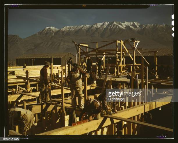 Constructing a building on the site of a new steel mill which will soon turn out steel for the war needs Columbia Steel Co Geneva Utah 1942