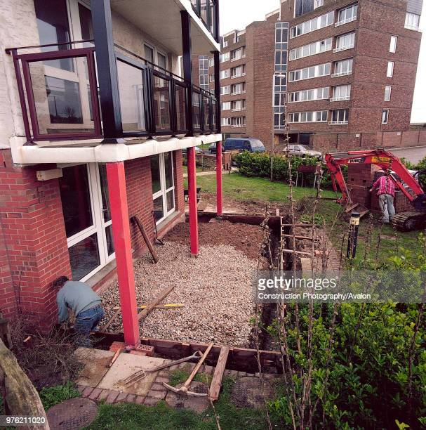 Constructing shuttering prior to concrete pour adjacent to new sheltered housing Hythe Kent United Kingdom 7th February 2003