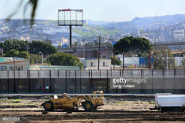 Construction along the USMexico border wall on January 25 2017 in San Ysidro California US President Donald Trump issued an executive order to begin...