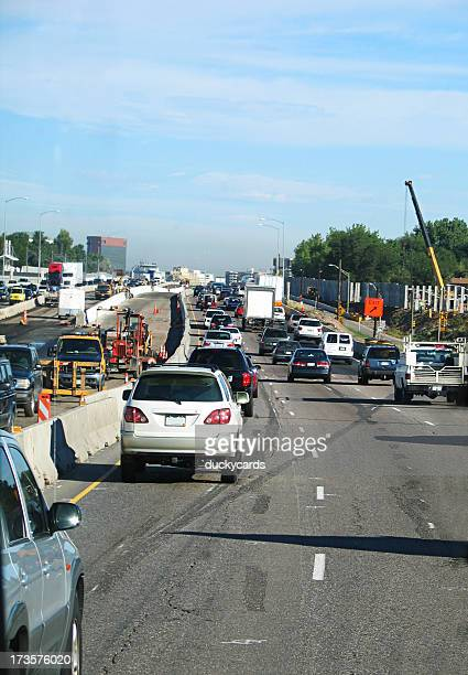 Construction Area with Heavy Traffic