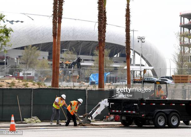 Construction at SoFi Stadium continues amidst the COVID-19 pandemic on March 31, 2020 in Inglewood, California.