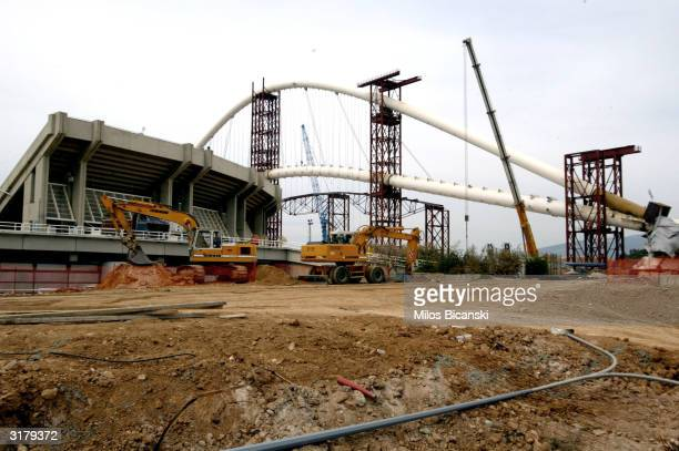 Construction at the Olympic Stadium and the Athens Main Olympic Complex is shown halted March 31, 2004 in Athens, Greece. Construction on the...