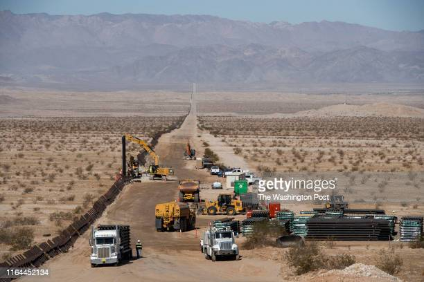 Construction begins along the US border with Mexico where the new border wall will replace old fencing on August 23 2019 in Calexico CA