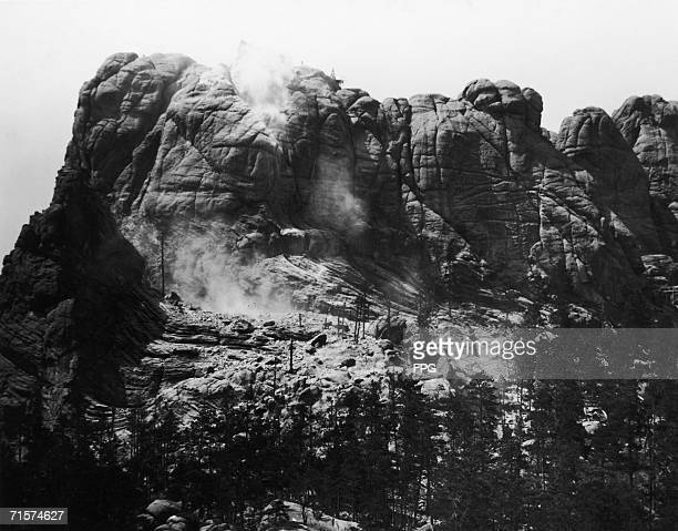 Construction begins on the Mount Rushmore National Memorial in South Dakota circa 1929