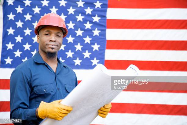 construction, blue collar worker and usa flag. - labor day stock pictures, royalty-free photos & images